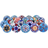 Blue and White Assorted Vintage Look Flower Ceramic Knobs Door Handle Cabinet Drawer Cupboard Pull (Lot of 20 Pcs) (Lot of 20