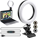 """Video Conference Lighting Kit,ENEGON 6"""" Selfie Ring Light for Video Conferencing, 3 Light Modes&9 Level Dimmable Light with C"""