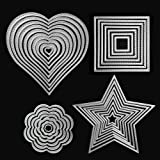 Die Cuts Cutting Dies Heart Square Flower Star Metal Embossing Stencils Template Mould for Card Scrapbooking and DIY Craft 4