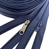 10Yards Bulk Zippers #3 Nylon Coil Zippers by The Yard with 15pcs Auto-lock Zipper Sliders and 10pcs Silver Pulls for Sewing