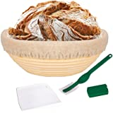 SNW 10 Inch Bread Proofing Basket - Banneton Proofing Basket + Cloth Liner + Dough Scraper + Bread Lame - Sourdough Basket Se