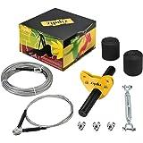 zipdiz 50 ft Zipline, Backyard Zipline kit, Zipline for Kids with 1/4 Inch Steel Cable and Tree Protectors(Without Seat and S