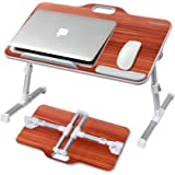 Laptop Desk Stand, Kavalan Portable Laptop Bed Tray Table with Top Handle, Height & Angle Adjustable Sit and Stand Desk, Fold