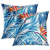 Lichtion Set of 2 Throw Pillow Covers Print Watercolor Tropical Leaves Flowers Palm Leaves Bird-of-Paradiseing Summer Exotic