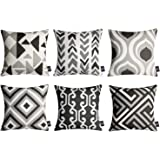 Phantoscope Set of 6 Geometric Pattern Double Side Print Decorative Throw Pillow Case Cushion Cover, Black and Grey, 18 x 18