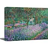 """Vijf Arte Irises in Monet's Garden, 1900 by Claude Monet - Canvas Art Wall Decor Picture Print Framed -12"""" x 16"""""""