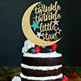 PALASASA Twinkle Twinkle Little Star Cake Topper,Half Moon Multi Color Little Star Birthday Party Baby Shower Gender Reveal G