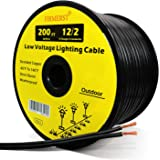 FIRMERST 12/2 Low Voltage Wire Outdoor Landscape Lighting Cable 200 Feet UL Listed