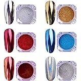 AIMEILI 6 Boxes Nail Art Mirror Powder Set Rainbow Unicorn Chrome Nail Art Pigment Glitter Dust Shinning Hologram Laser Powde
