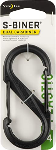 Nite Ize S-Biner Plastic Size-4 Double-Gated Carabiner, Lightweight Yet Strong, Black