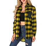 ZANZEA Flannel Plaid Check Shirt Button Down Buffalo Tops Long Sleeve Loose with Front Pocket for Women Casual