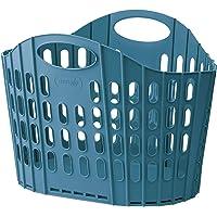 【折りたためるランドリーバスケット ブルー1個】 洗濯かご ランドリーバッグ 収納バスケット 脱衣かご 防水 折りたたみ…