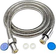 QINGMU シャワーホース、 L= 2M、ステンレス、 360度回転 黄銅コネクター 、取り付けかんたん 、耐久性抜群、 防カビ 、無臭、 絡まり防止、 防爆、 防裂 、抗菌、耐寒、 耐熱、 国際汎用基準G1/2スレッド化されたインターフェース、E