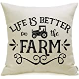 Meekio Farmhouse Pillow Covers Life is Better on The Farm Rooster Print 18 x 18 Inch for Farmhouse Country Décor, Linen, Life