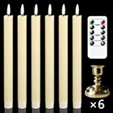 GenSwin Flameless Taper Candles with Remote Timer, Battery Operated Flickering Real Wax LED Window Candles with Removable Gol