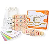 LITTLE BUD KIDS Spin-and-Read Montessori Phonetic Reading Blocks and Flashcard Travel Toy Set for Beginner Readers