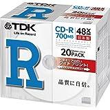 TDK CD-R 700MB 48X ホワイトワイドプリンタブル 日本製 20枚 5mmケース入り CD-R80PWDX20B