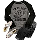 LANMERTREE Women Funny Halloween T Shirt Drink Party Graphic Long Sleeve Splicing Casual Tops