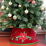 Yomikoo Christmas Tree Collar,Tree Stand Band with Christmas Flower for X'Mas Tree,Home Decoration