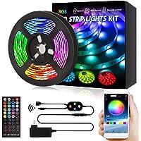 ZHONGJI RGB LED テープライト 5m APP操作 アプリ制御 リモコン付き DIY切断可能 調光調色 店…
