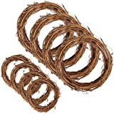 Sntieecr 8 PCS 2 Sizes Natural Grapevine Wreath Rings, Rattan Vine Branch Wreath Hoop for DIY Easter Craft Holiday Party Deco