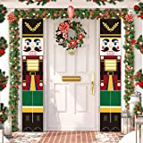 ALLODUCK 2Pcs Nutcracker Christmas Decorations - Life Size Nutcracker Soldier Porch Signs -Xmas Hanging Banners Sign for Outd