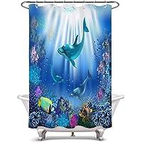 LB 海底世界 ブルー シャワーカーテン 動物柄 イルカたちと珊瑚 バスカーテン カラフル おしゃれ 浴室カーテン ポリ…