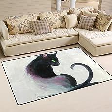 Anmumi 玄関マット 滑り止め カーペット ラグ 大きいサイズ 猫柄 萌え マット 屋内 玄関 キッチン 応接間 ドア おしゃれ 洗える 床防護 インテリア 人気 天然素材
