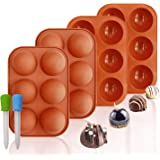 Silicone Molds, 6 Holes Semi Sphere Chocolate Molds, 4 Pack Silicone Baking Mold for Making Hot Chocolate Bombs, Cake, Jelly(