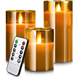Led Flameless Candles, Battery Operated Real Pillar Wax Flickering Moving Wick Effect Glod Glass Candle Set with Remote Contr