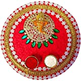 9 inch Karwa Chauth/Karva Chauth & Diwali Decorative Puja Thali with Lord Ganesha and Roli Rice for Hindu Temple Rituals..Ind