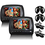 """Elinz 2x 9"""" LCD Black Headrest DVD Player Car Monitor Pillow 1080P USB SD Sony Lens Headphones Car Chargers More Video Format"""