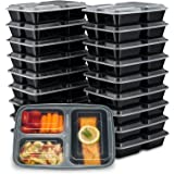 EZ Prepa [20 Pack] 32oz 3 Compartment Meal Prep Containers with Lids - Bento Box - Durable BPA Free Plastic Reusable Food Sto