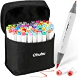 72 Colors Alcohol Markers, Ohuhu Brush & Fine Double Tipped Sketch Marker for Kids, Artist, Alcohol Brush Art Marker Set, Com