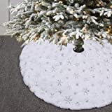 KERIQI 48Inch White Christmas Tree Skirt with Silver Sparkly Embroidered Snowflakes, Fluffy Faux Fur Tree Skirts Mat for Xmas