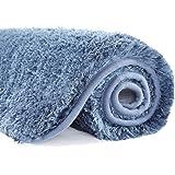Suchtale Bathroom Rug Non Slip Bath Mat for Bathroom (16 x 24, Blue) Water Absorbent Soft Microfiber Shaggy Bathroom Mat Mach