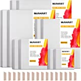 MIAHART Pre Stretched Canvas for Painting 5 Assorted Size White Artist Blank Canvas for Painting Acrylic Pouring Oil Paint &