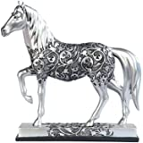"""George S. Chen Imports SS-G-11678 Silver Toned Engraved Horse Trotting Statue, 7.25"""""""
