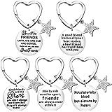 Zhanmai 5 Pieces Friends Keychain Gift Friendship Heart Shaped Keychain for Best Friend Bestie