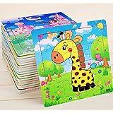 パズル 知育おもちゃ 木製パズル モンテッソーリ教育おもちゃ Bacolos 木のおもちゃ 動物形状パズル 10枚セット 16ピース ジグソーパズル 知育おもちゃ 6歳以上対象