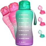 Half Gallon/64oz Motivational Water Bottle with Time Marker & Straw, Leakproof Tritan BPA Free Water Jug (2.4L) Ensure You Dr