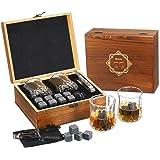 Whiskey Stones Set Whiskey Glass Gift Boxed Set, Baban 8 Granite Chilling Whisky Rocks and 2 Whisky Glasses, Bag made of Flee