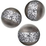 Schonwerk Silver Decorative Orbs for Bowls and Vases (Set of 3) Resin Sphere Balls | Dining/ Coffee Table Centerpiece | Great
