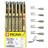 Sakura Pigma Micron drawing pens set, (Size: 005, 01, 03, 05,08, Brush tip) black fineliner artist pen