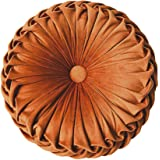 Elero Round Throw Pillow Velvet Home Decoration Pleated Round Pillow Cushion for Couch Chair Bed Car Orange 1