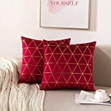 NordECO HOME Pack of 2 Throw Pillow Covers Cases - Square Decorative Cushion Covers for Sofa Couch Bed Home Decoration, 18 x