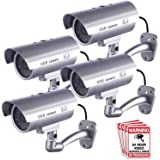 Dummy Security Camera, Fitnate 4 Packs Fake Security Camera CCTV Surveillance System with LED Red Flashing Light for Both Ind