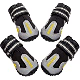 BINGPET Dog Boots Waterproof Reflective Pet Shoes for Medium Dogs Anti-Slip Paw Protectors with Adjustable Straps 4 Pcs