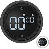 Kitchen Timer (Black) – LED Digital Magnetic Timer and Countdown – Quick and Easy, Twist Setting, Mute and 3 Levels Alarm – T