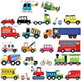 Decowall DS-8004 27 Transports Kids Wall Stickers Wall Decals Peel and Stick Removable Wall Stickers for Kids Nursery Bedroom